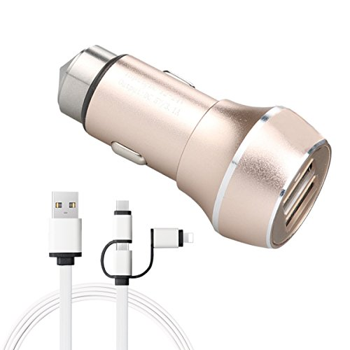 Aidir Quick Charge Rapid Car Charger Stainless Hammer with Dual Ports 2.4A for Iphone X 8 7 6 6s plus ipad samsung Galaxy Note 8 /S8 S7 S6 Plus ,google LG HTC and More (Charger With Cable) -
