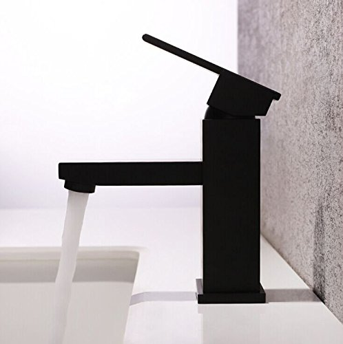 Hongala Modern Single Handle Bathroom Sink faucet Solid Brass Mixer Tap in Matte Black