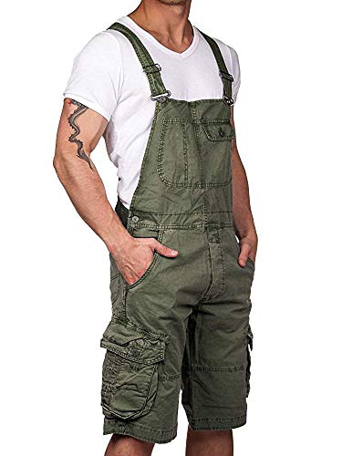 Karlywindow Mens Bib Overalls One Piece Cargo Shorts Knee Length Romper Jumpsuits with Pockets Army Green
