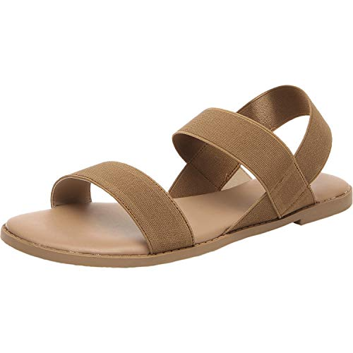 Women's Wide Width Flat Sandals - Open Toe Elastic Ankle Strap Casual Summer Shoes.(190105,Brown, 6) ()