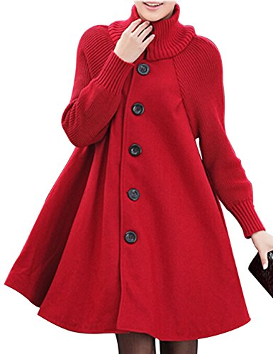 Gihuo Women's Mid Long Single Breasted Cowl Neck Loose Woolen Cloak Coat (Medium, Red)