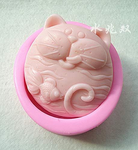 Cake Molds - Wholesale Retail 10 Pcs Cat Silica Gel Fondant Cake Mold Soap Mould 9.4 8.2 3.4cm 127g - Fondant Mold Moulds Cake Molds Soap