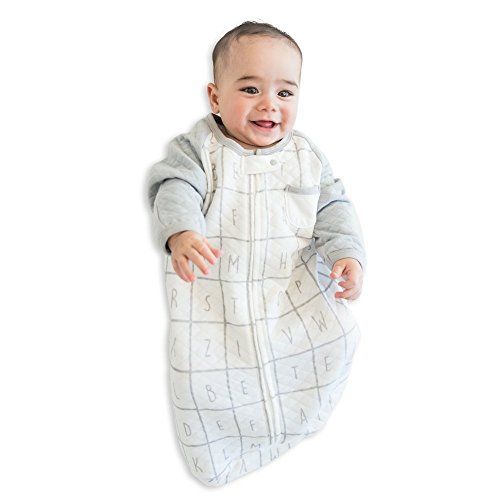 Slumber Sack (TEALBEE BABY: Sleeping Sack with Sleeves for Babies - Bamboo & Cotton Wearable Blanket for Safe Sleep - Keeps Newborn and Infant Warm with Arms - Unisex for Boys and Girls (Small, White & Grey))