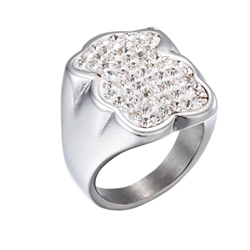 - URs Women's 18K Gold Plated and Silver Teddy Bear Ring with Rhinestones Jewelry Setting (Silver, 7)