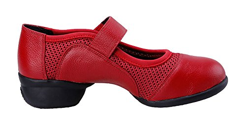 staychicfashion Womens Leather Modern Dance Shoes Mesh Inset Jazz Practice Boots ¡ Red