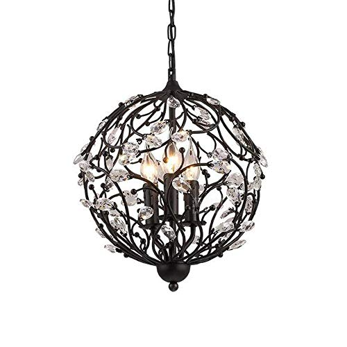 Branch Iron Wrought (3-Light Crystal Pendant Light, Creative Wrought Iron Branch Hanging Ceiling Lamp E14 Edison Retro Cafe Bedroom Chandelier Lighting Nordic Creative Personality Bar Engineering Iron Bird Cage Gold with)