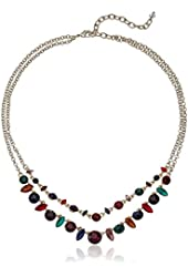 "Napier ""Simply Sweet"" Gold-Tone/Multi Two-Row Necklace, 19"""
