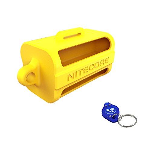 Nitecore NBM40 Battery Magazine Organizer, Black, Green, Yellow Color Options - Holds 4 x 18650 Batteries plus LumenTac Keychain Flashlight (Yellow)