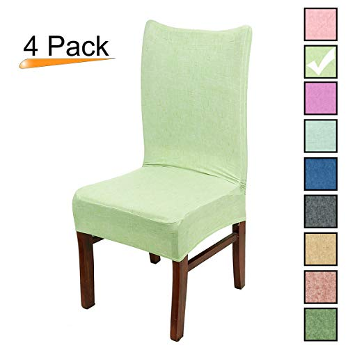 Stretch Dining Room Chair Covers Soft Spandex Seat Protector Removable Slipcover for Hotel Wedding Party Set of 4, Grass Green