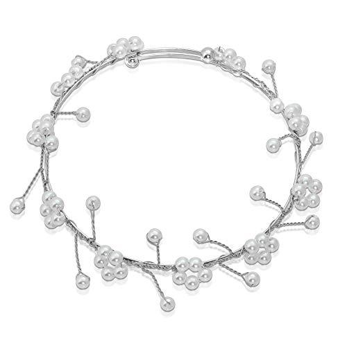 (Bride & Bridesmaid Gift : Pearl Baby's Breath Bangle Bracelet (Silver Color))