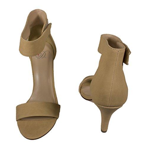 Lustacious Mujer's Open Toe Slim Tacón Alto Con Correa De Velcro En El Tobillo Beige Nubuck Cuero Sintético