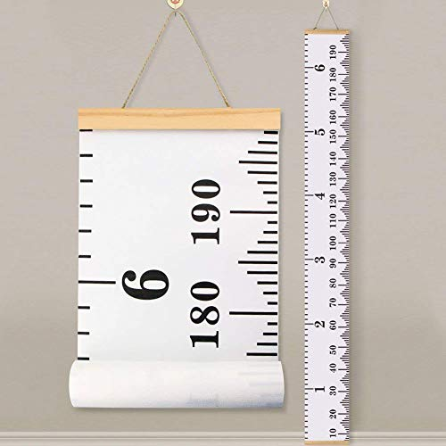"Baby Height Growth Chart Ruler KINBON Kids Roll-up Canvas Height Chart Removable Wall Hanging Measurement Chart Wall Decor with Wood Frame for Kids Nursery Room (79"" X 7.9"")"