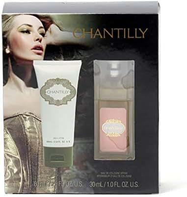 Dana Chantilly 2 Piece Set for Women, 1 oz Eau De Cologne Spray + 2 oz Body Lotion