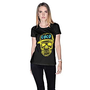 Creo Yellow Blue Coco Skull T-Shirt For Women - L, Black