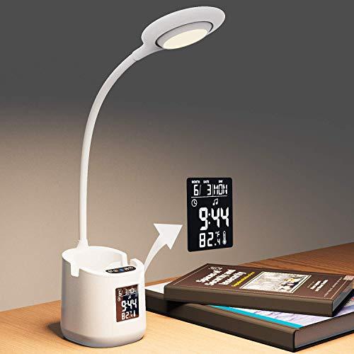 Lámpara de Escritorio Lámparas de Mesa de protección 0cular Lámpara de Aprendizaje LED con Soporte para Teléfono Móvil…