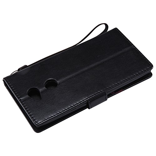 Funda Sony Xperia L2, SsHhUu Funda PU Piel Genuino [Ranuras para Tarjetas] [Cierre Magnetico] con Lápiz óptico + Acollador para Sony Xperia L2 (5.5) Lavanda Negro