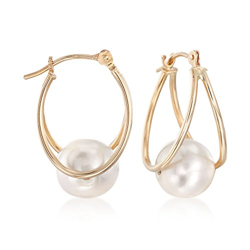 (Ross-Simons 8-9mm Cultured Pearl Double Hoop Earrings in 14kt Yellow Gold )