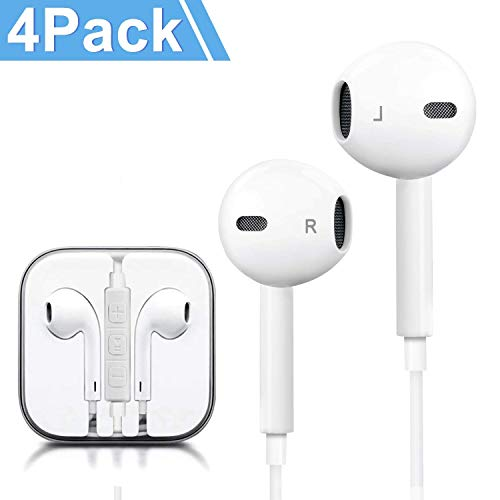 Headphones, 4Pack Quality Earbuds Earphones with Microphone and Volume Control, Compatible with 6s Plus/6s/6/SE/5s/5c/5 Samsung Galaxy and More Android Smartphones 3.5mm Headphones White (4 Pack)