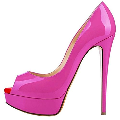 TAOFFEN Mujer Elegante Aiguille Peep Toe Sandalias Tacon Alto Sin Cordones Zapatos Rosa Roja