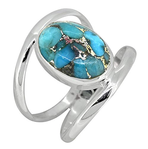 YoTreasure Blue Copper Turquoise Solid 925 Sterling Silver Designer Ring (Copper Turquoise Ring)