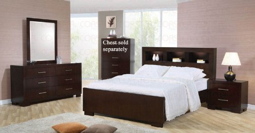 - Coaster Jessica Collection 200719QSET 5 PC Bedroom Set with Queen Size Bed + Dresser + Mirror + Chest + Nightstand in Cappuccino