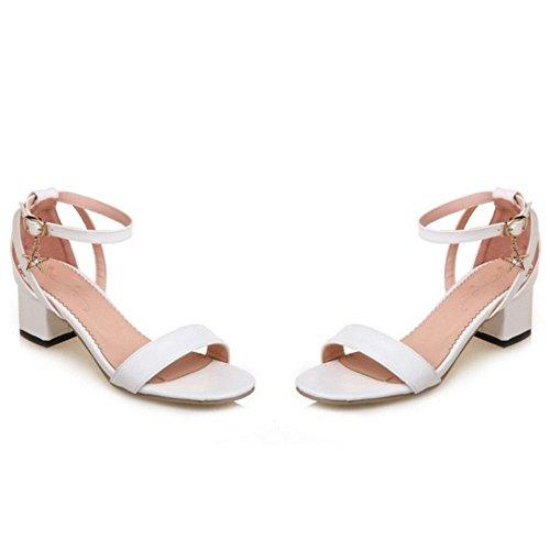 Coolcept Women Mid Heel Sandals Block Heels Ankle Strap Suede Ladies Dress Heeled Shoes Open Toe ¡ 1821white yAJR58aMV