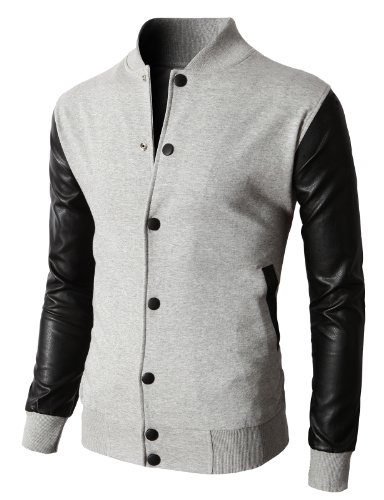 H2H Men's Slim Fit Lightweight Sportswear Jacket Casual Bomber Jacket Gray US 2XL/Asia 3XL (KMOJA0132) ()