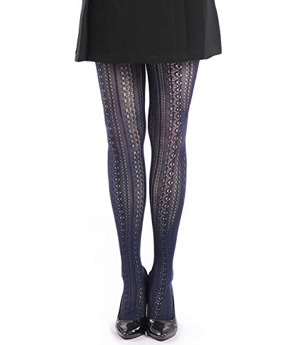 EachEver Women Fishnet Hollow Out Chiffon Lace Stockings Tights Vertical Strips Pantyhose Navy blue