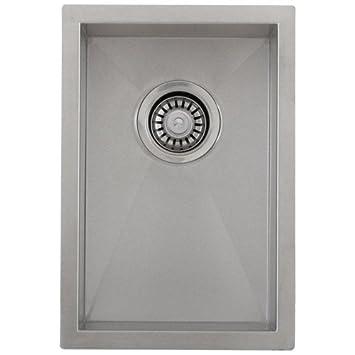 Phoenix 12u0026quot; Undermount 16 Gauge Stainless Steel Square Kitchen Bar Sink  Zero Radius