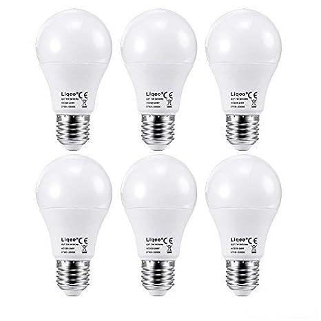 Liqoo 6 x Bombillas LED E27 7W Lámpara Bajo Consumo Blanco Cálido 3000K AC 220V Ángulo de visión 270° No Regulable Sustituye 45W: Amazon.es: Iluminación