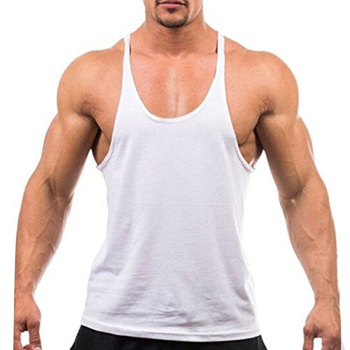 Camiseta de entrenamiento con espalda en Y QianSheng, absorbe la humedad, camiseta de entrenamiento para baloncesto, gimnasio, camiseta sin mangas de gimnasio, Gris, XXL Blanco