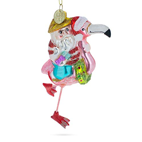 (BestPysanky Santa Riding Pink Flamingo Blown Glass Christmas Ornament)