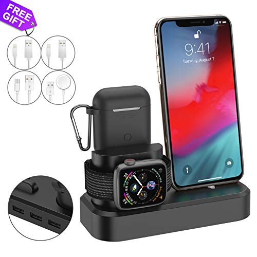 3 in1 Charger Dock Station Stand Compatible for iPhone Apple Watch airpods,Charger Stand and Holder for Airpods 2/1,Charging Dock for iWatch Series 4/3/2/1 (Black)