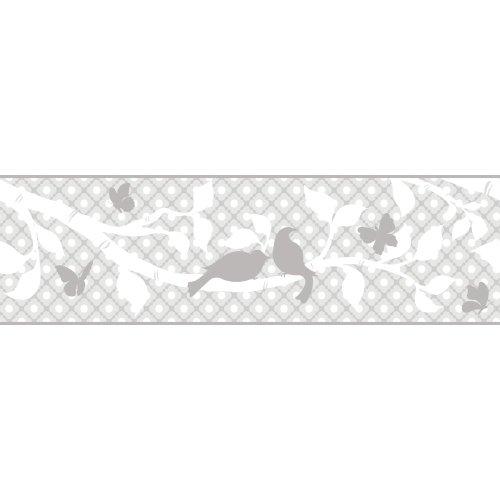 York Wallcoverings Peek-A-Boo - Cenefa para jardín, Muestra, gris/gris/gris/blanco (palest gray/dove gray/soot gray/white)