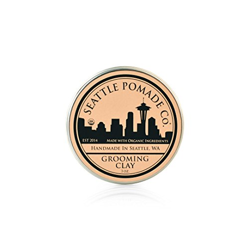Organics Pomade (Organic Grooming Hair Clay - USDA Certified - Firm Hold, Low Shine Finish – Product for Thickened, Bold & Modern Hairstyles – Oil & Wax Base – 3 OZ – By Seattle Pomade Co)