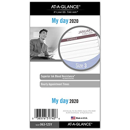 AT-A-GLANCE 2020 Daily Planner Refill, Day Runner, 3-3/4