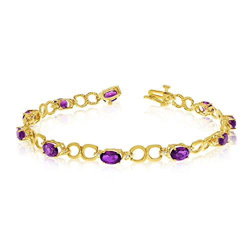 Jewels By Lux 10K Yellow Gold Oval Amethyst and Diamond Bracelet
