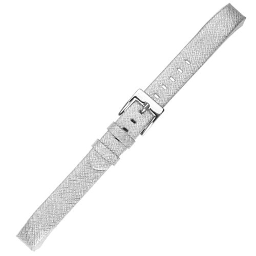 Fitbit Alta HR and Alta Bands, Henoda Silver Classic Genuine Leather Replacement Wristband for Fitbit Alta Fitness Strap Smartwatch