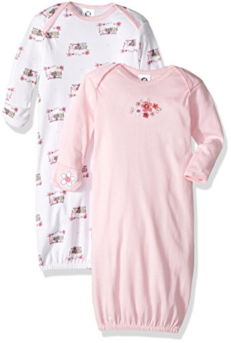 Gerber Baby Girls 2 Pack Gown, Lil' Flowers, 0-6 Months (Bottom Gown)