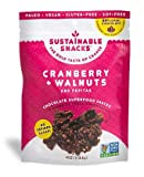 Cheap Sustainable Snacks – Plant Based – Vegan, Paleo, Gluten Free, Soy Free and Non GMO for healthy snacking with Fruit, Nuts and 80% Dark Chocolate – No Refined Sugar (Cranberry + Walnuts, 1 Bag)