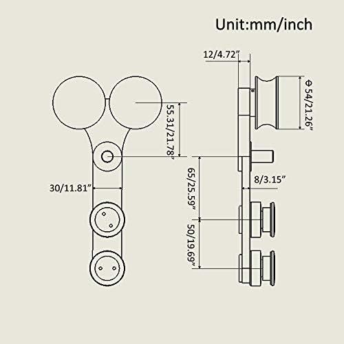 Length: 4ft Single kit KIN Made GD-18 Satin Finish Elegant Glass Sliding Door fuul Set Hardware+ -