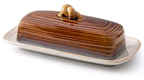 ROSCHER Ceramic Butter Dish w/ Handle (AMBER) Cover and Plate 2-Piece Combo | Dark, Contemporary Kitchen Décor | Decorative, Modern Design for Kitchen, Dining Room
