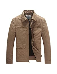 WenVen Men's Lightweight Jacket Casual Classic Military Coat