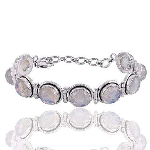Rainbow Moonstone /& Clear Quartz Gemstone Bracelet  Christmas Gift  925 Sterling Silver Plated Bracelet Size 8 SG 25