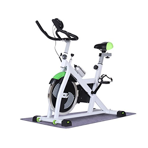 URSTAR Indoor Fitness Cycle Bike Exercise Bike with Computer Monitor and Heart Pulse Sensors (White)