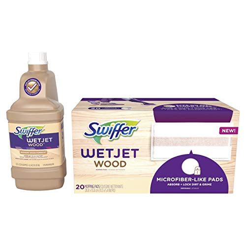 Swiffer WetJet Wood Floor Mopping and Cleaning Refill Bundle, All Purpose Floor Cleaning Products, Includes: 20 Pads, 1 Cleaning Solution (Wood Floor Cleaner Kit)
