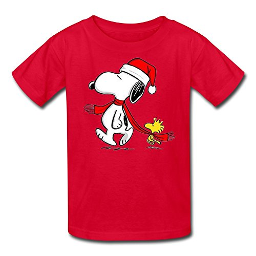 [SHFL Kid's Snoopy Woodstock Christmas 100% Cotton T Shirts Red S] (Sally Brown Costume)