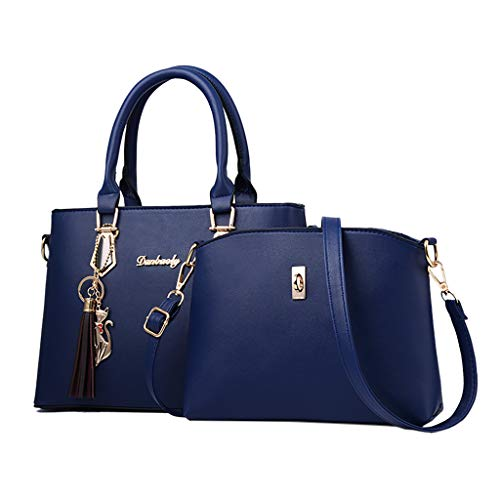 Kangma Women 2-PCS Shoulder Bags Solid Color Zipper Handbag Wallets Simple High Capacity Crossbody Bags