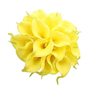 AntranStore 20pcs Calla Lily Bridal Wedding Bouquet Head Latex Real Touch Artificial Flower Home Party Decor (Yellow) 66
