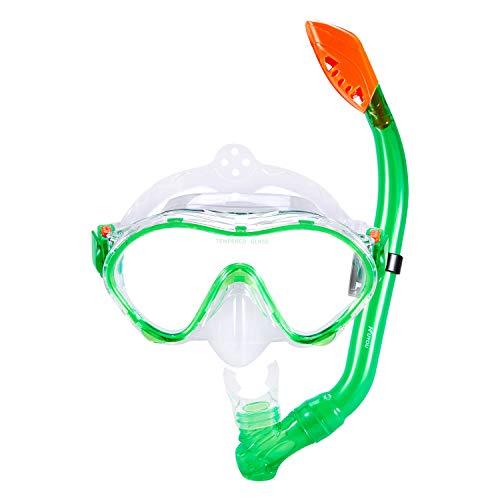 KUYOU Snorkel Set for Kids,Dry Top Snorkel Mask - Anti-Fog and Anti-Leak Easy Adjustable Snorkeling Gear for Children, Boys & Girls,Juniors Freediving Gear Set Age 5. (Green) ()